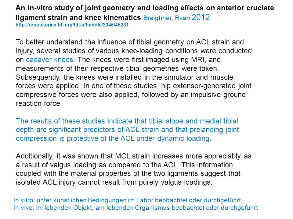 An in-vitro study of joint geometry and loading effects on anterior cruciate ligament strain and knee kinematics Breighner, Ryan 2012
