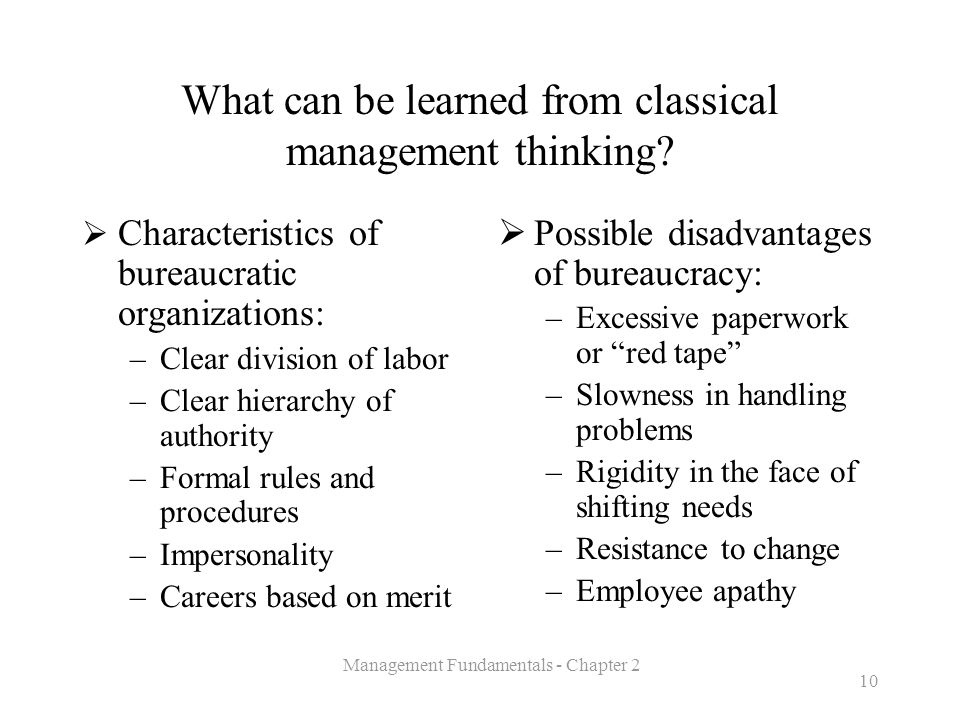 What can be learned from classical management thinking