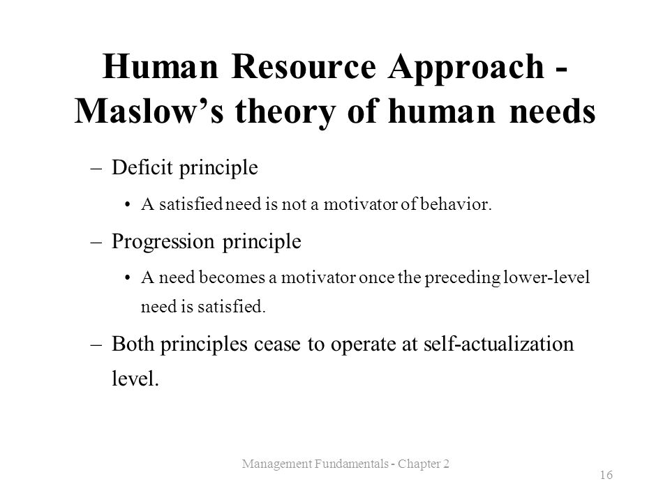 Human Resource Approach - Maslow's theory of human needs