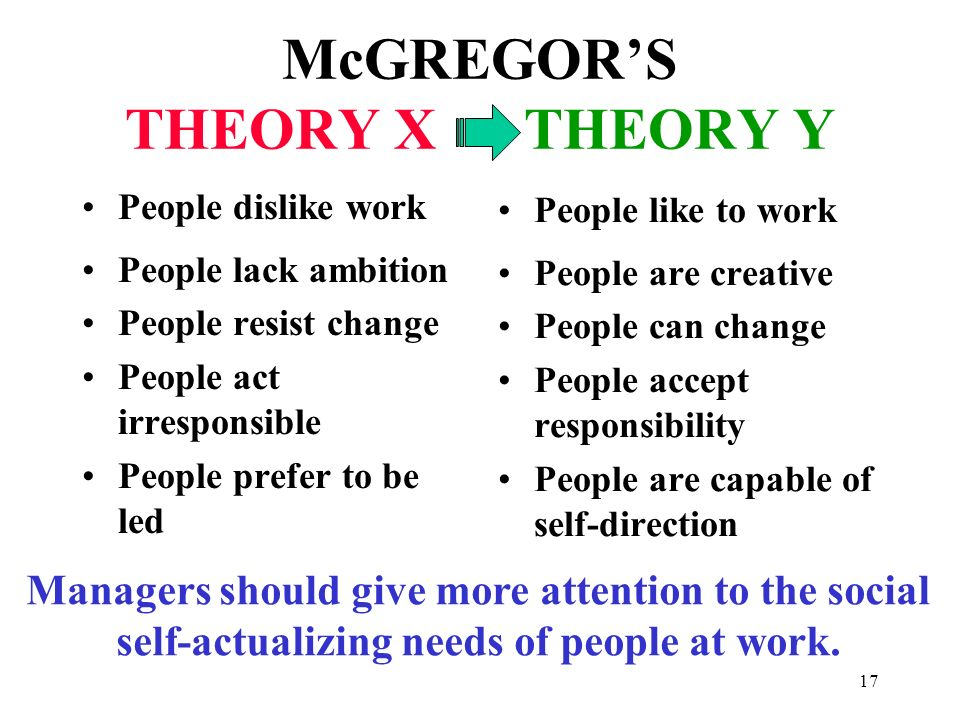 McGREGOR'S THEORY X THEORY Y