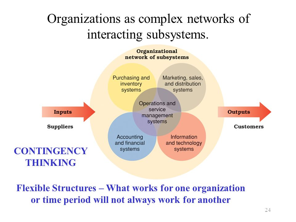 Organizations as complex networks of interacting subsystems.