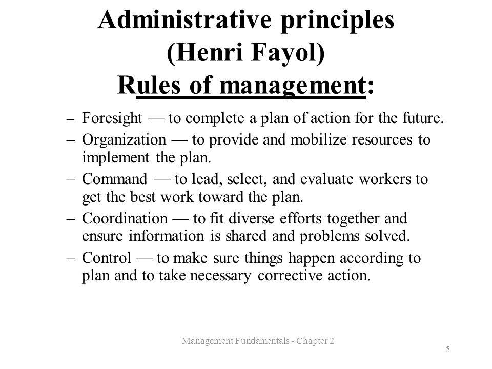 Administrative principles (Henri Fayol) Rules of management: