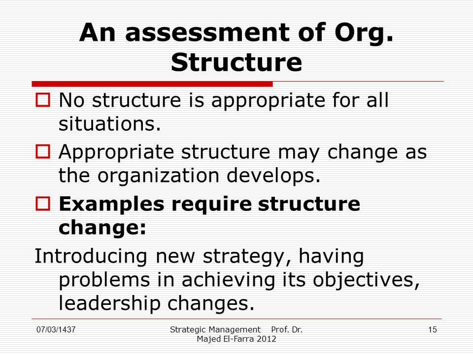 An assessment of Org. Structure