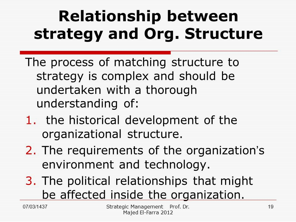 relationship between organizational structure and process management