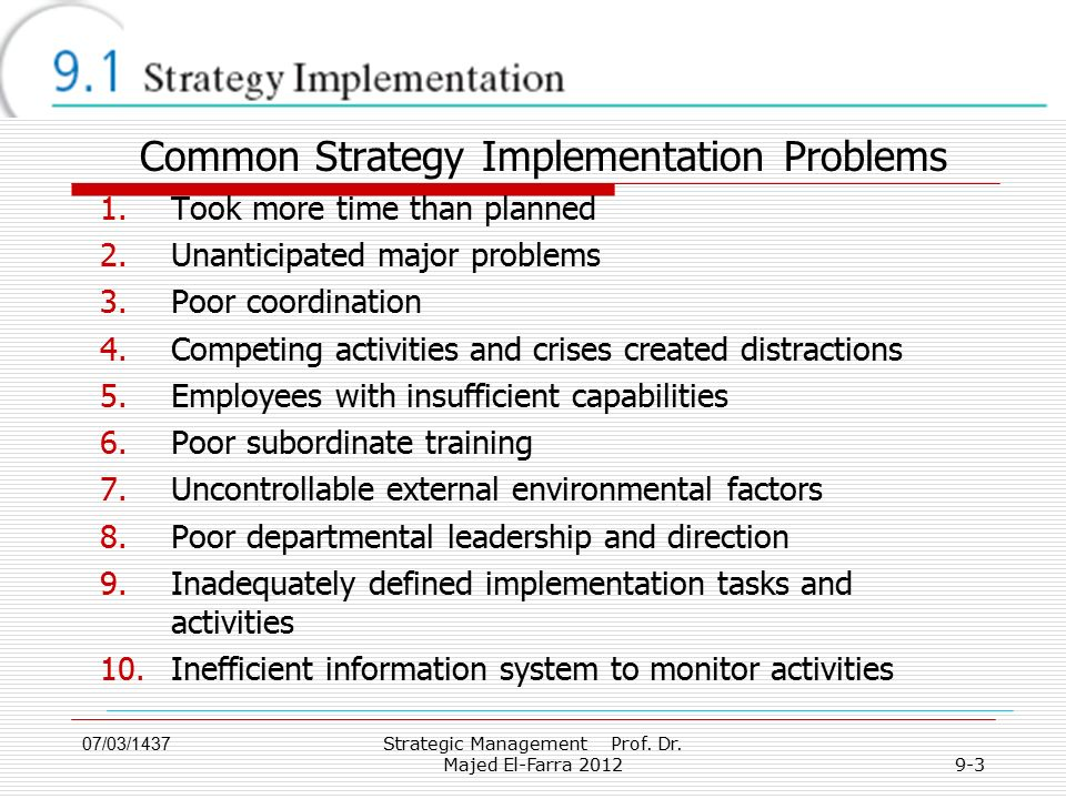 Common Strategy Implementation Problems