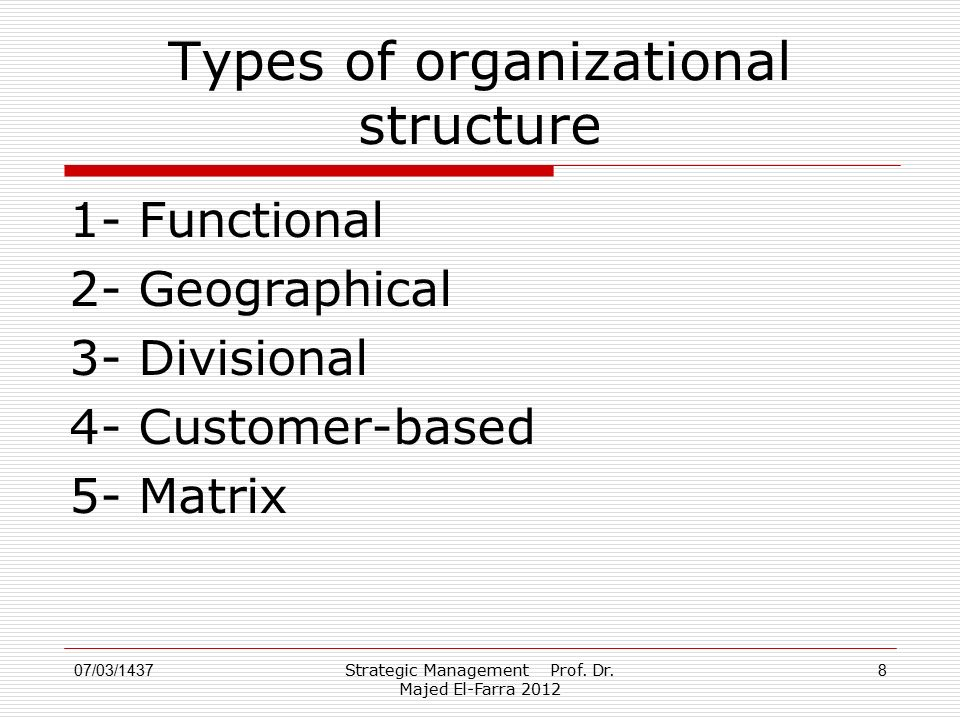 Types of organizational structure