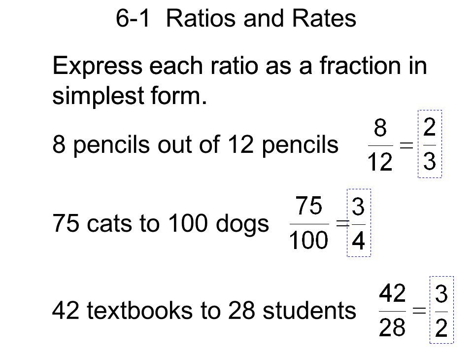 6-1 Ratios and Rates Express each ratio as a fraction in simplest ...