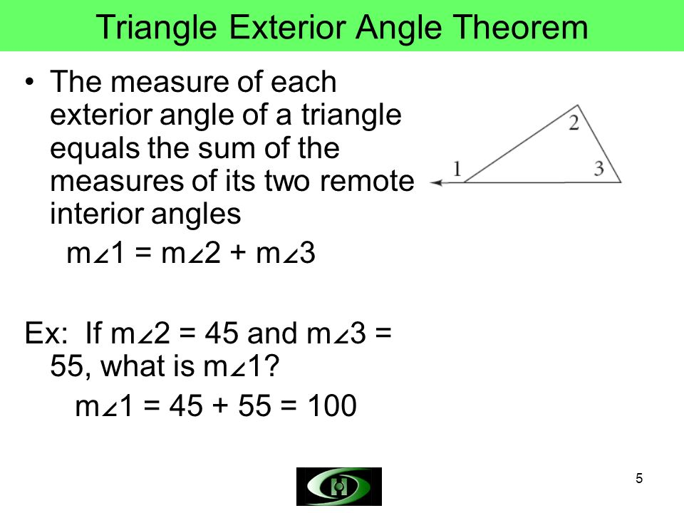 Triangle Angle Sum Theorem Triangle Exterior Angle Theorem Ppt Video Online Download