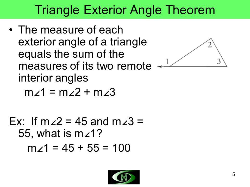 Triangle Angle Sum Theorem Triangle Exterior Angle Theorem ppt