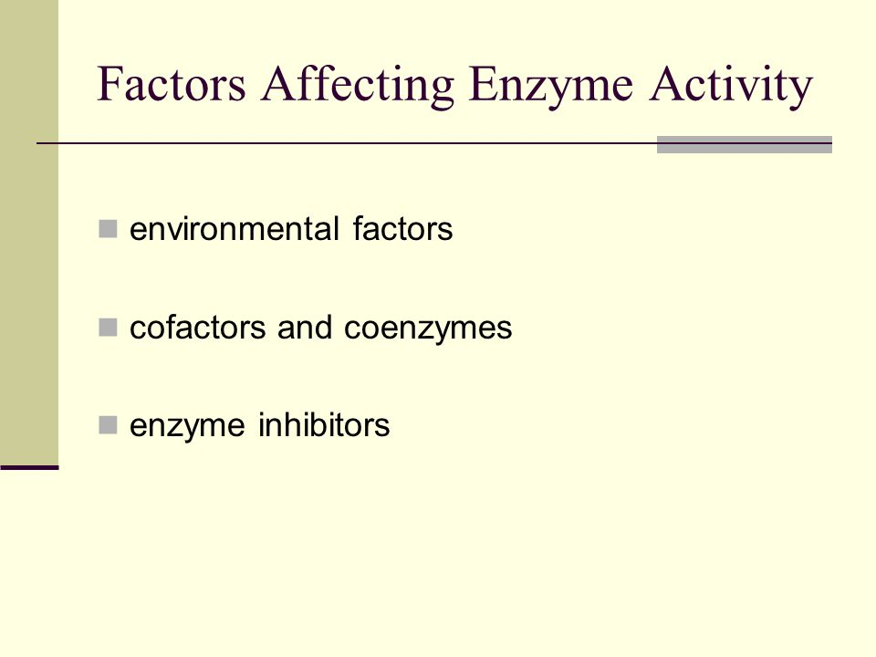 the factors affecting enzyme activity Request pdf on researchgate | factors affecting enzyme activity | an enzyme  can be succinctly described as having two characteristics: (1) its structure almost .