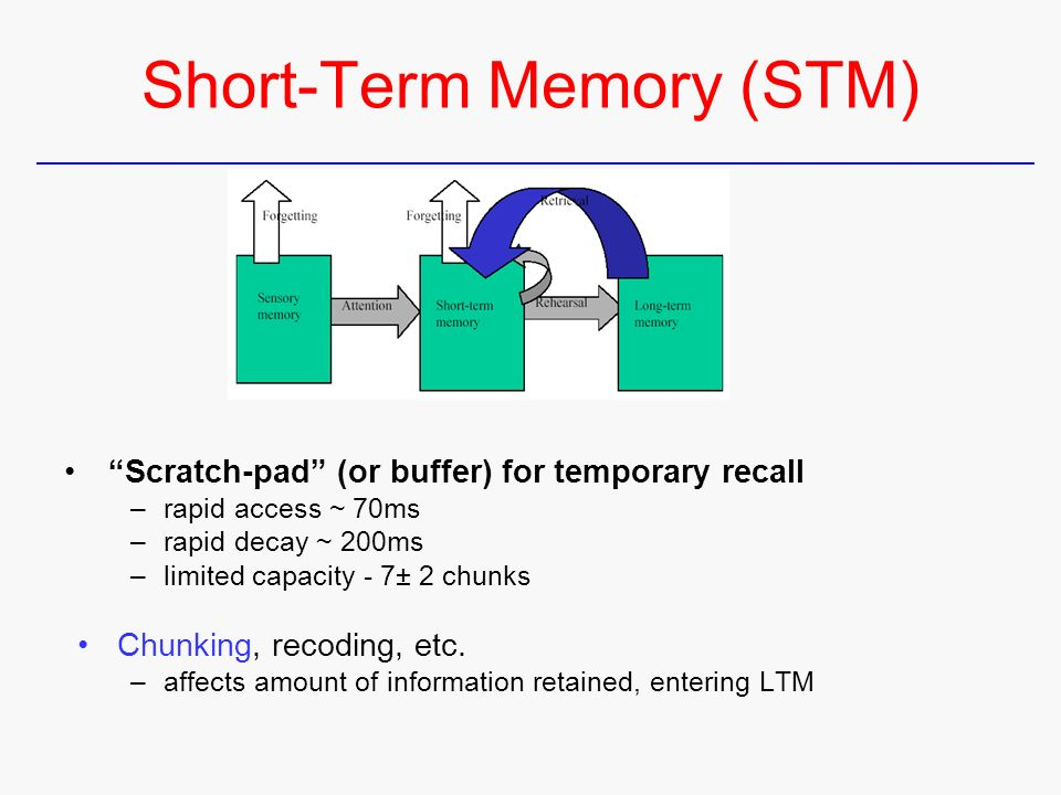 the effect of chunking on memory recall in stm essay Participants were read lists of either words or numbers that they had to recall   stm has a capacity of between 5 and 9 (7 +/-2) items of information and as age   of the brown-peterson technique to show that number of chunks affects duration.