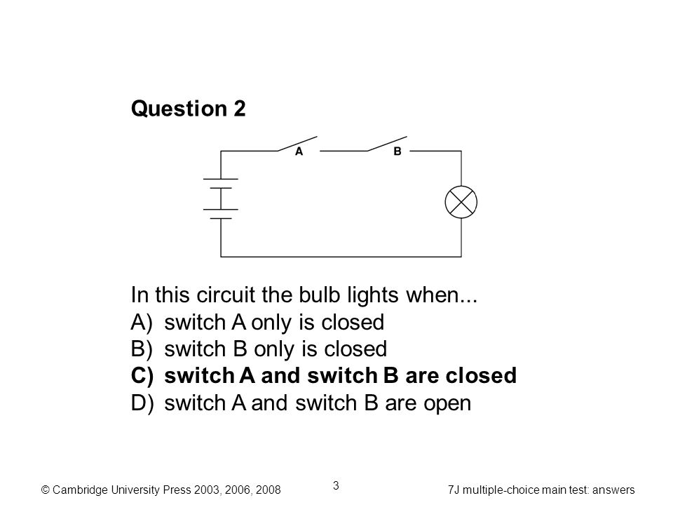 year 7 multiple choice main test answers 7j electrical circuits rh slideplayer com Series Circuit Diagram Diagram Electrical Circuit