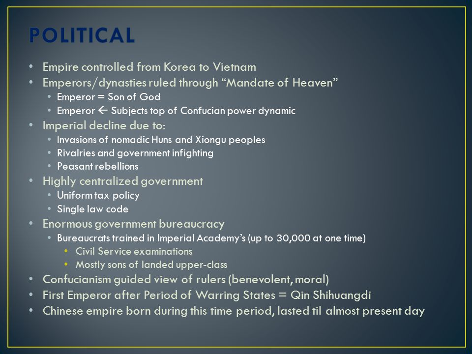 POLITICAL Empire controlled from Korea to Vietnam