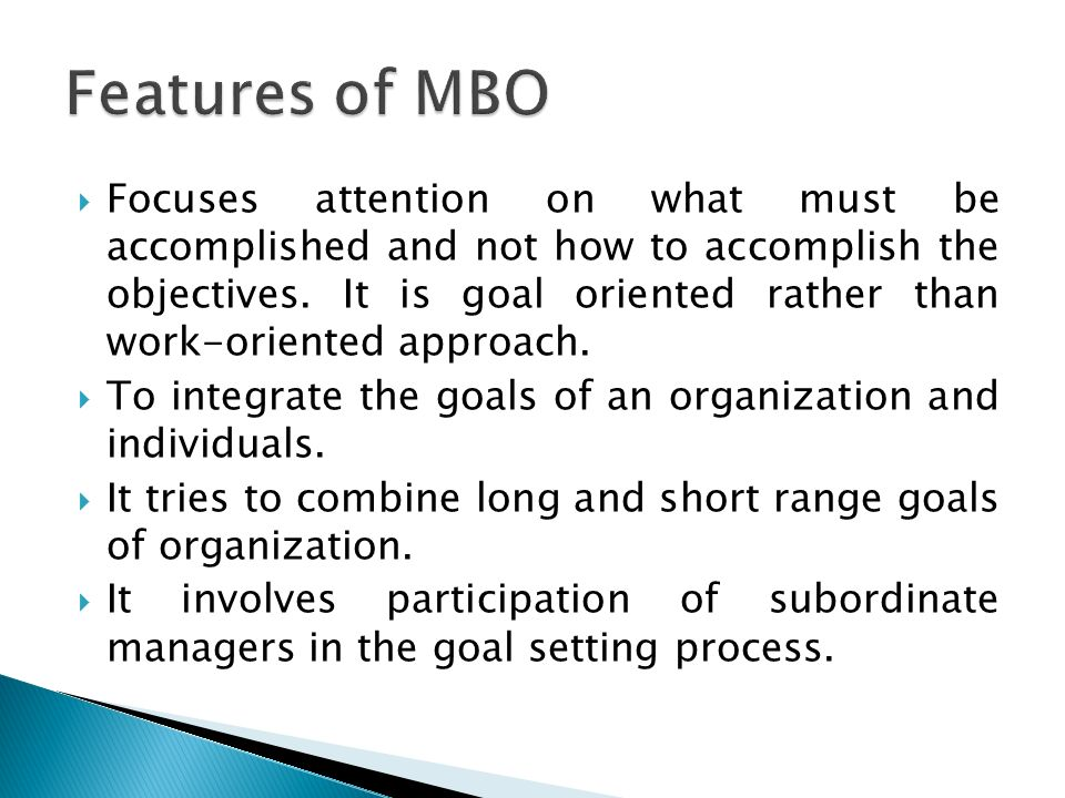 Features of MBO