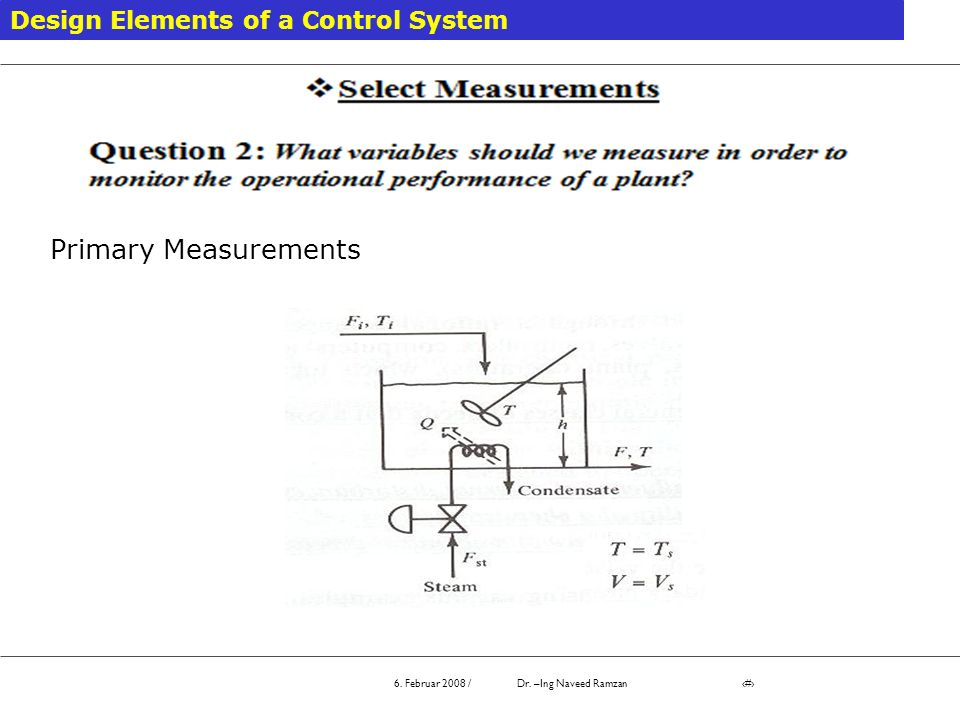 Primary Measurements Design Elements of a Control System