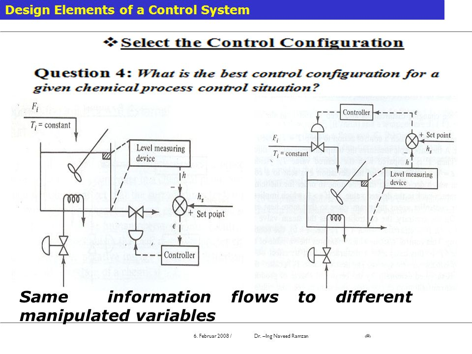 Same information flows to different manipulated variables