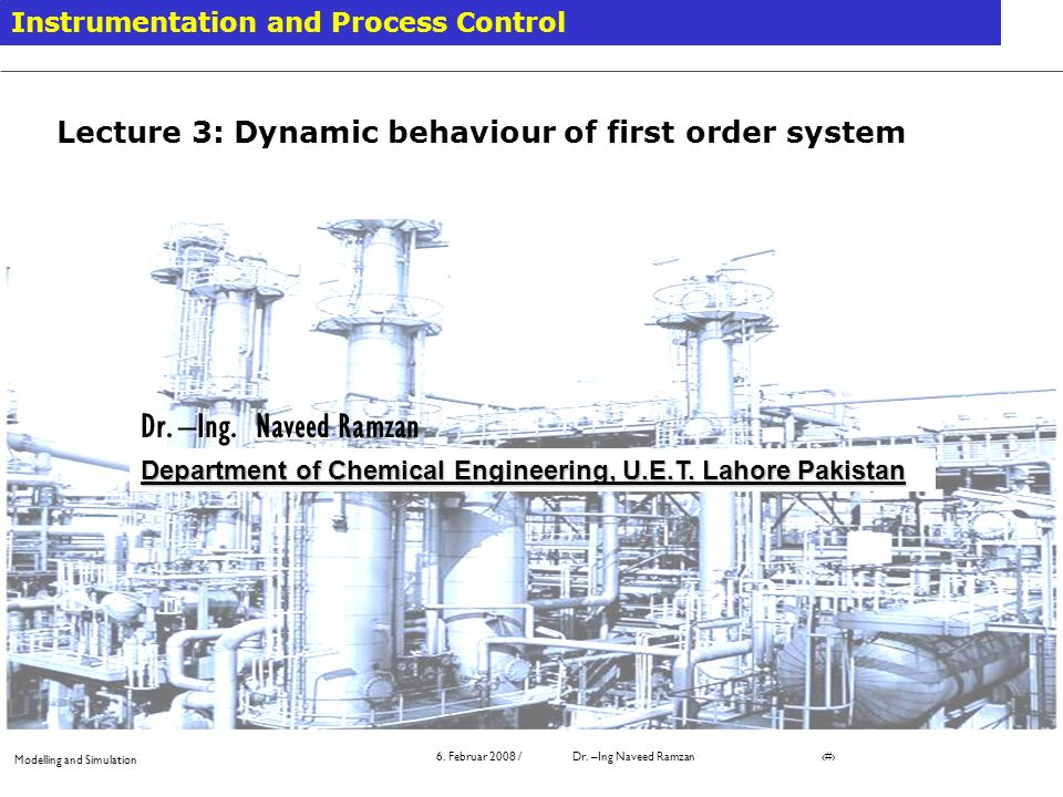 Lecture 3: Dynamic behaviour of first order system