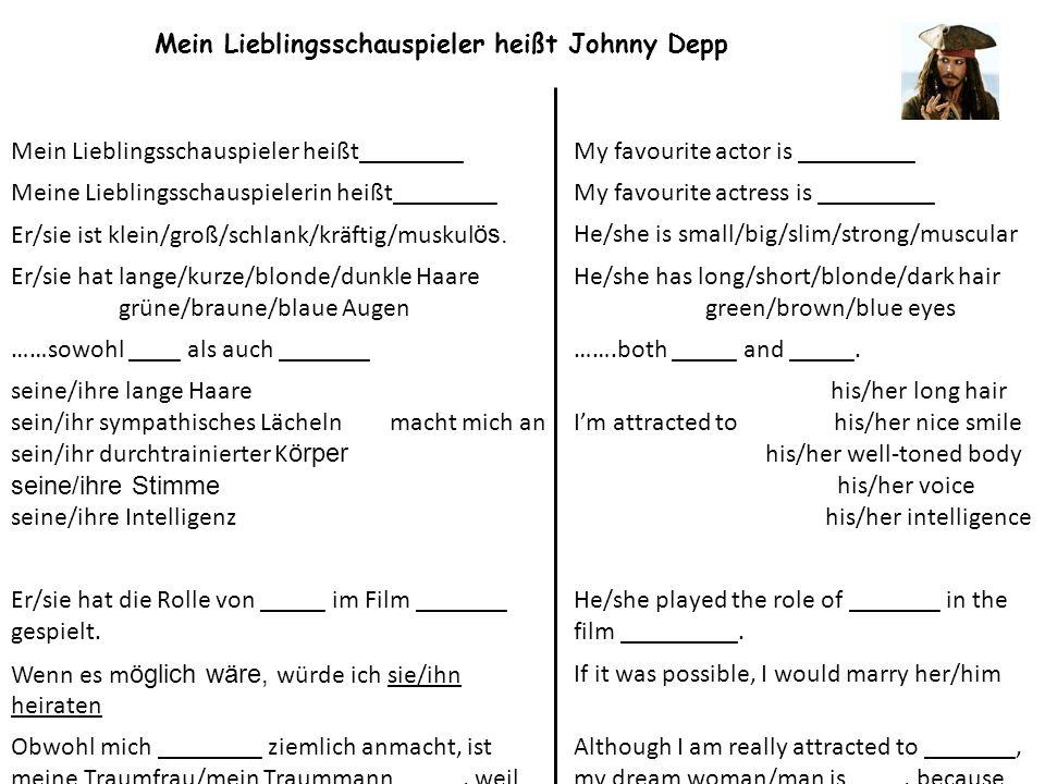 Mein Lieblingsschauspieler heißt Johnny Depp