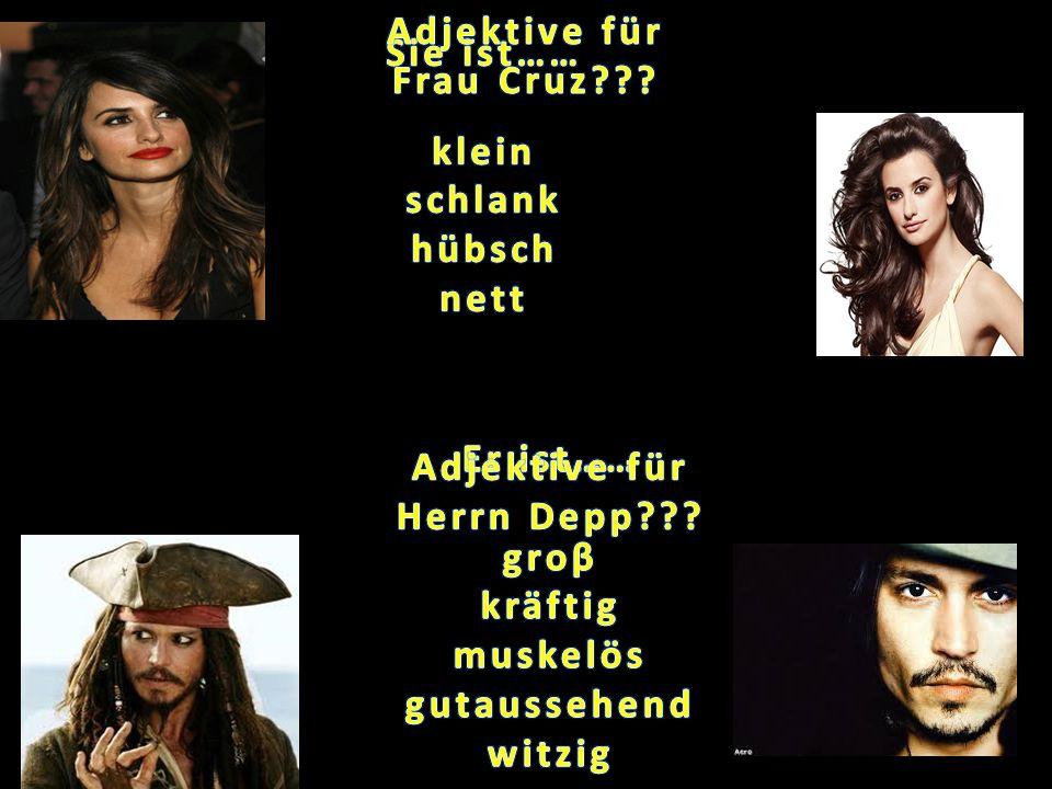 Adjektive für Frau Cruz Adjektive für Herrn Depp