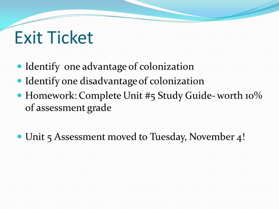 Colonization Quiz Study Guide