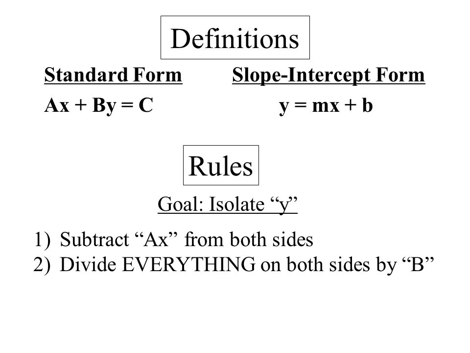 Ch 43 Extra Writing Equation From Standard To Slope Intercept