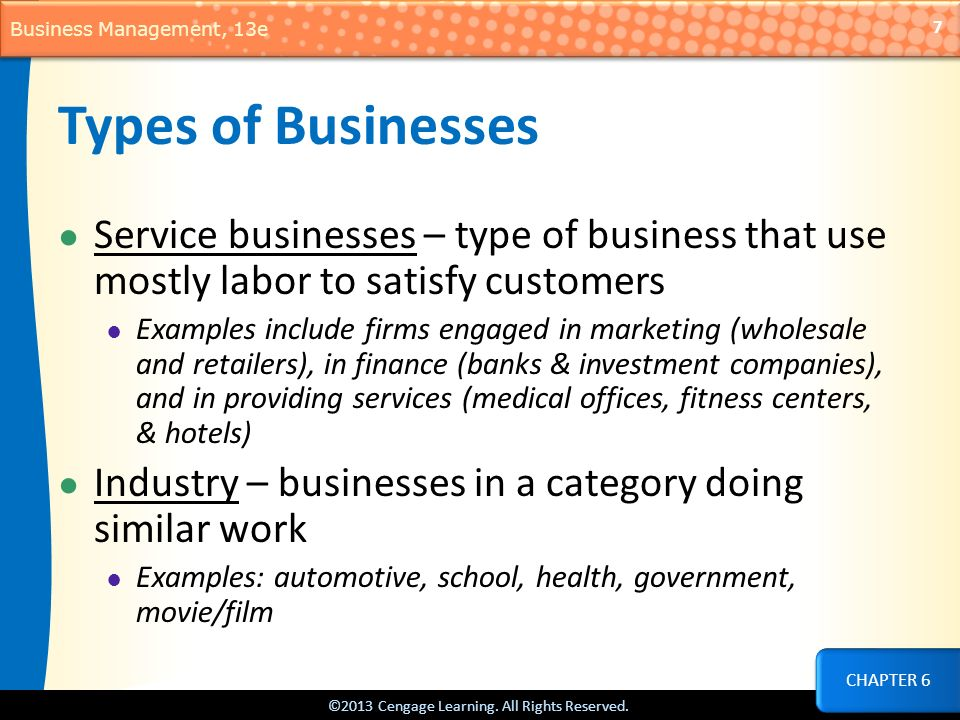 types of businesses The post-wwii technology boom, specifically the internet, has changed business incredibly it's created new businesses and changed how existing.