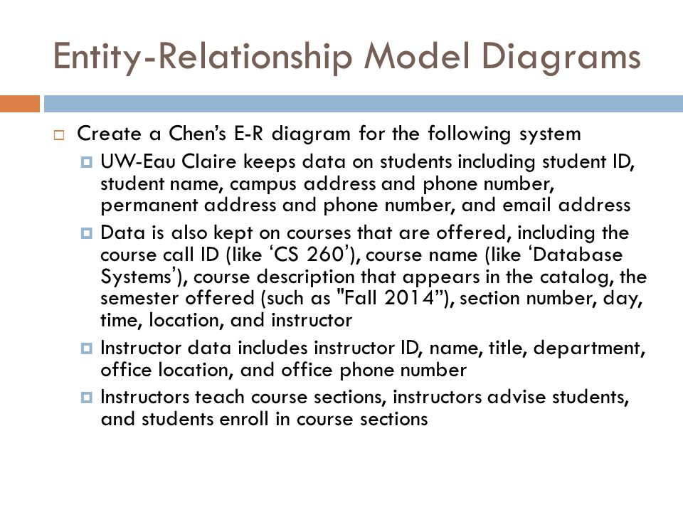 database relational model and entity course Here is an example of how these two concepts might be combined in an er data model: prof ba (entity) teaches (relationship) the database systems course (entity) for the rest of this chapter, we will use a sample database called the company database to illustrate the concepts of the er model.
