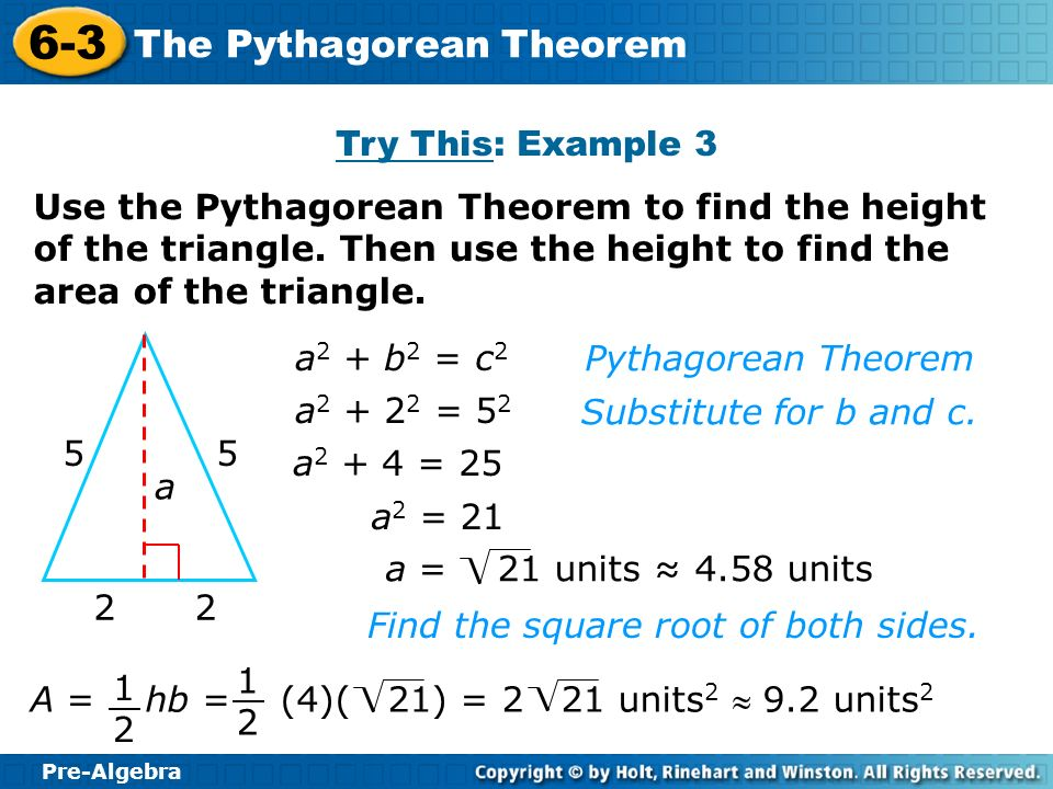 Pre algebra homework page 292 ppt download try this example 3 use the pythagorean theorem to find the height of the triangle ccuart Choice Image