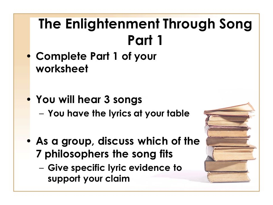Question of the day How would YOU answer this question ppt – Enlightenment Worksheet
