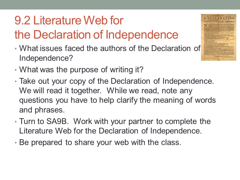 the writing of the declaration of independence
