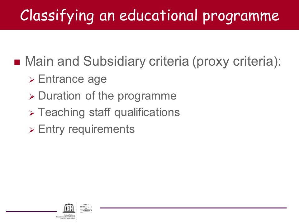 Classifying an educational programme