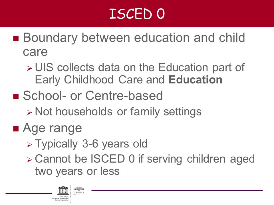 ISCED 0 Boundary between education and child care