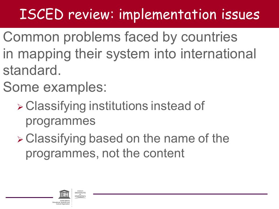 ISCED review: implementation issues