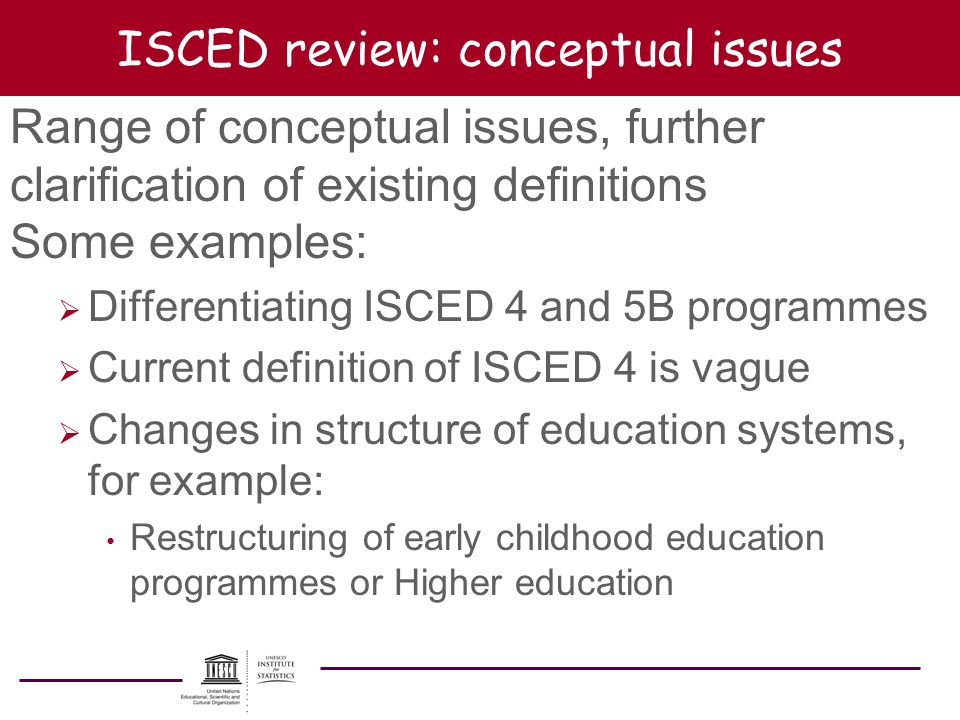 ISCED review: conceptual issues