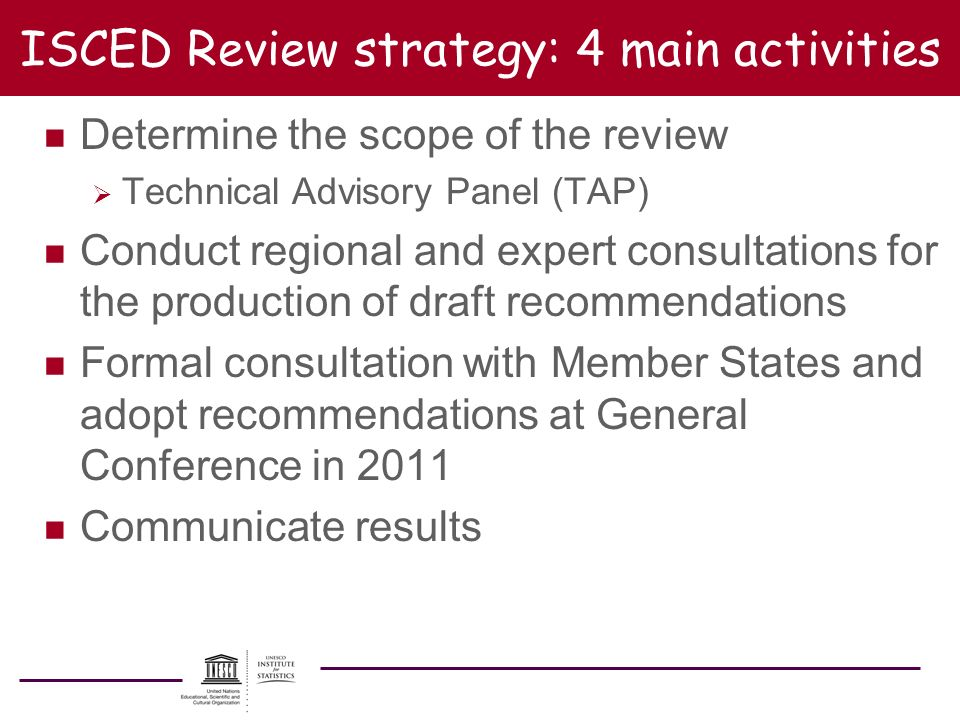 ISCED Review strategy: 4 main activities