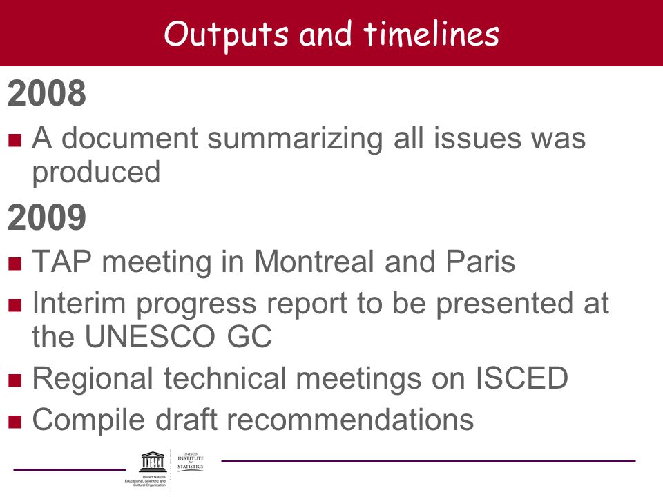 Outputs and timelines 2008. A document summarizing all issues was produced. 2009. TAP meeting in Montreal and Paris.