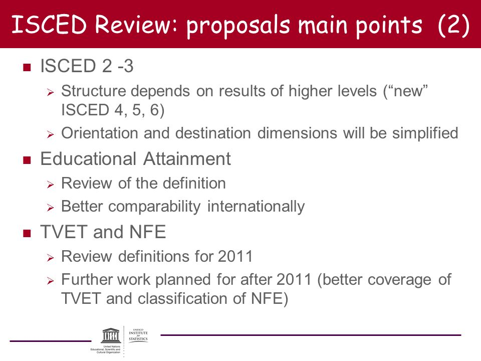ISCED Review: proposals main points (2)