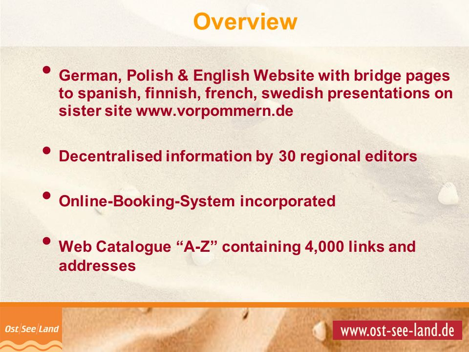 Overview German, Polish & English Website with bridge pages to spanish, finnish, french, swedish presentations on sister site www.vorpommern.de.