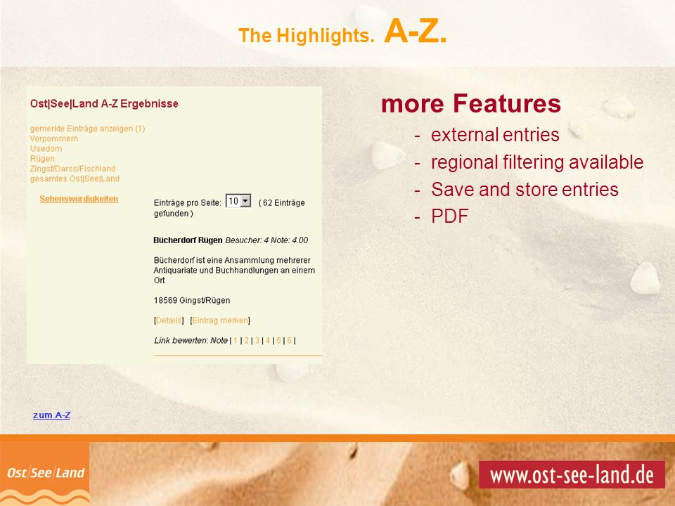 more Features The Highlights. A-Z. external entries