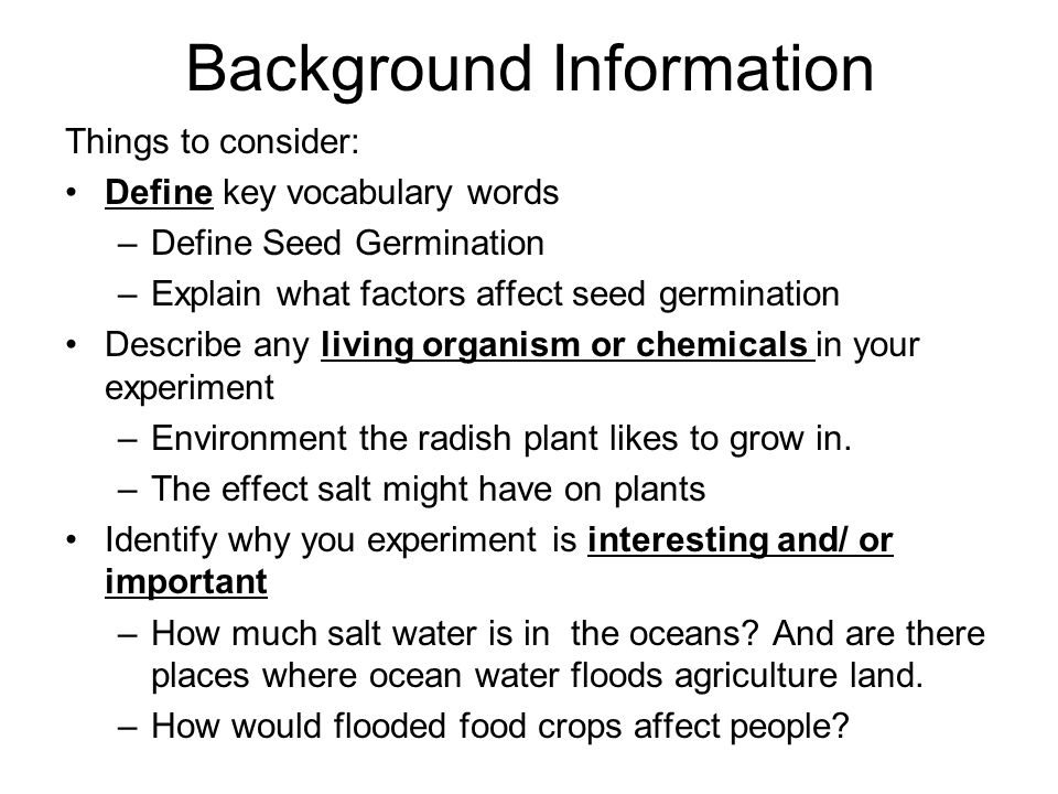 Investigation: What Factors Affect Seed Germination?