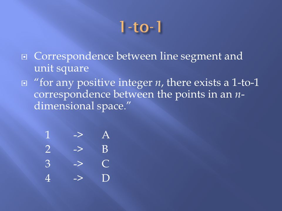 1-to-1 Correspondence between line segment and unit square