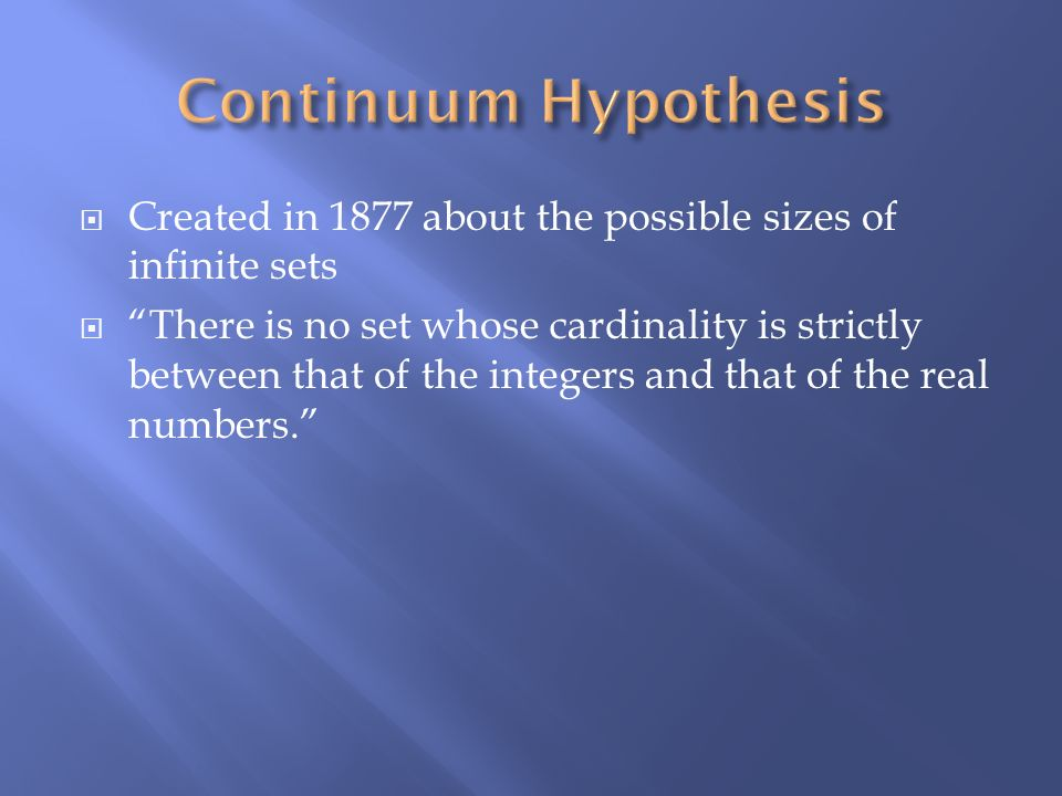 Continuum Hypothesis Created in 1877 about the possible sizes of infinite sets.
