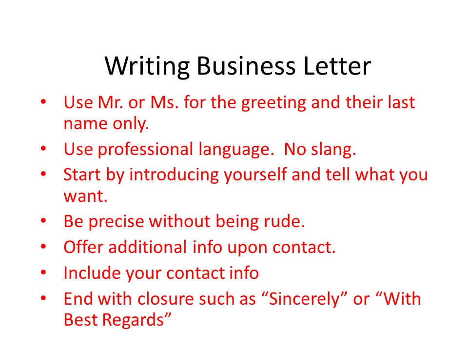 Writing Business Letter