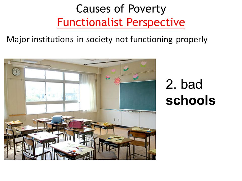 functionalist perspective on poverty In general, the functionalist perspective and conflict perspective both try to explain why social stratification exists and endures in explaining poverty in the united states, which view, individualist or structural, makes more sense to you.