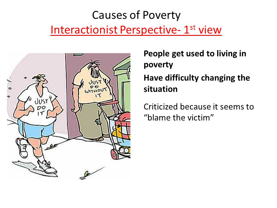symbolic interactionist view on poverty Symbolic interactionism theory on poverty symbolic interaction symbolic interactionism originated with two key theorists, george herbert mead and charles horton cooley george herbert mead was a proponent of this theory and believed that the true test of any theory was that it was useful in solving complex social problems the term symbolic interactionism has come into use as a label for a.