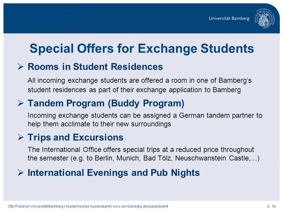Special Offers for Exchange Students