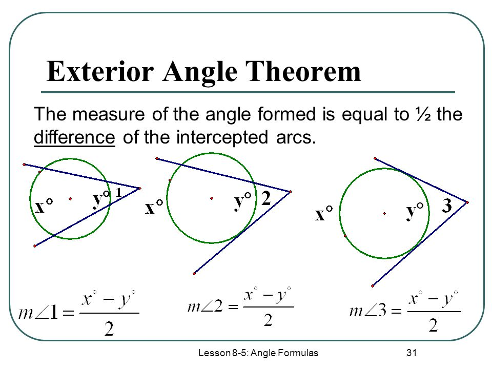 Lesson 8 1 circle terminology ppt video online download for Exterior angle theorem