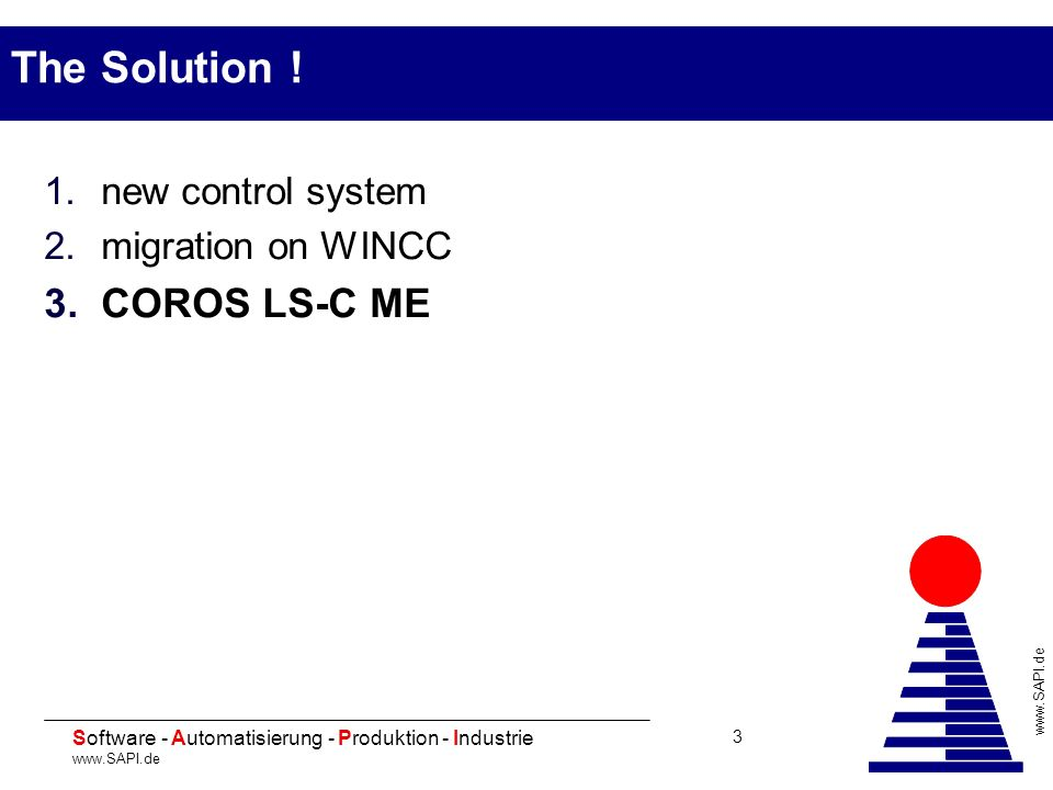 The Solution ! new control system migration on WINCC COROS LS-C ME