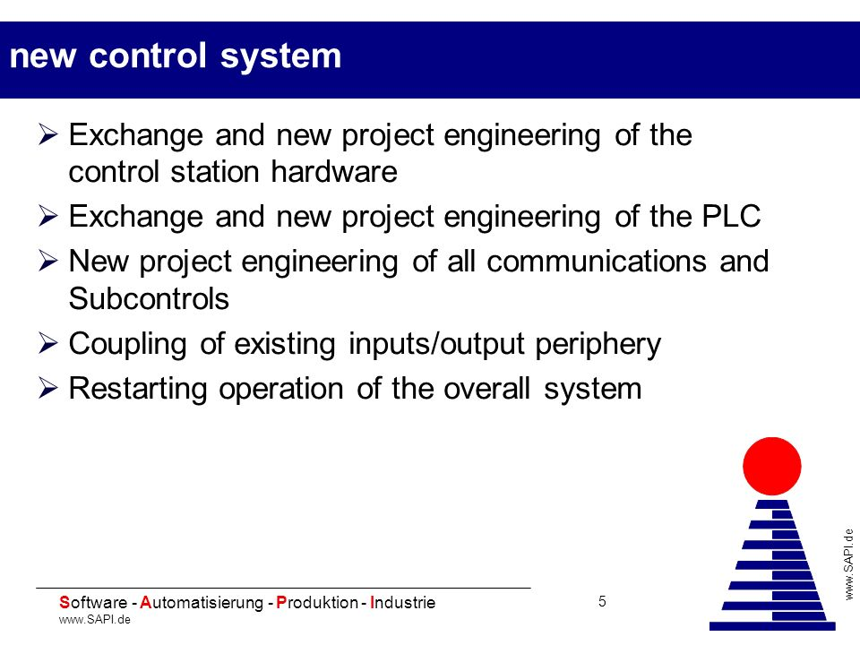 new control system Exchange and new project engineering of the control station hardware. Exchange and new project engineering of the PLC.