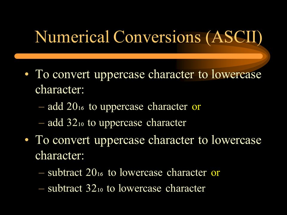 Numerical Conversions (ASCII)